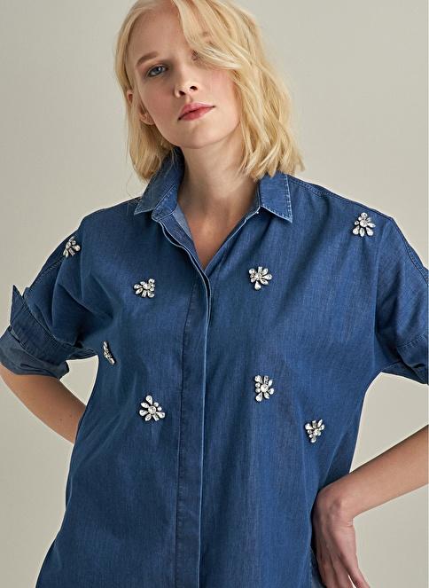 NGSTYLE Taş İşlemeli Oversize Jean Gömlek Mavi